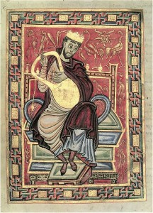 König David mit Harfe; aus dem Egbert Psalter (Foto: 10th Century Monk, via Wikipedia Commons)